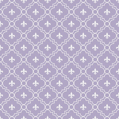 White and Purple Fleur-De-Lis Pattern Textured Fabric Background