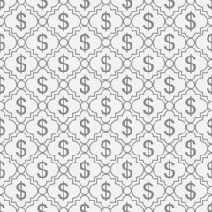 Gray and White Dollar Sign Pattern Repeat Background