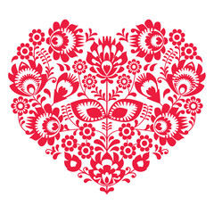 Valentines Day folk art red heart - Polish pattern