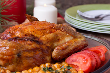 Roasted Christmas whole chicken with chickpeas