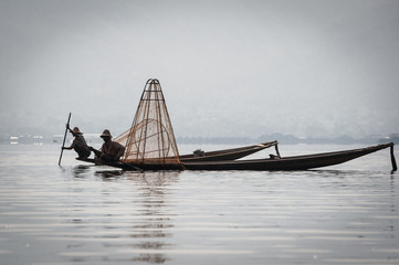Two fishmen at Inle Lake