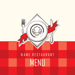 menu design with dish, knife and fork