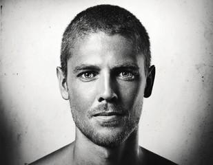 b/w portrait of a handsome man