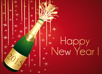 Gold and red Champaign greeting card. Happy New Year !