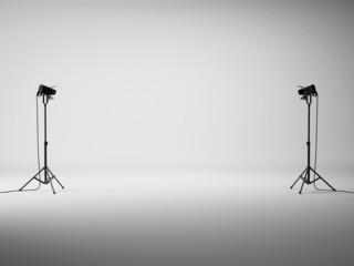Obraz White studio with lights - fototapety do salonu