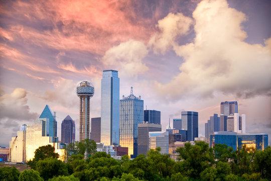 Dallas City skyline at sunset, Texas, USA