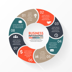 Vector circle arrows for infographic, diagram. 8 steps, options.