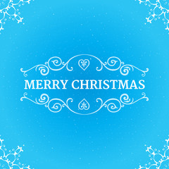 Fancy ornate borders with text merry christmas at blue