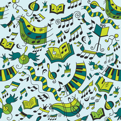 Musical seamless pattern with doodles design elements.