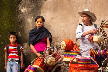 Traditional mexican crafts vendors at taxco guerrero