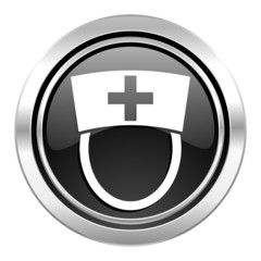 nurse icon, black chrome button, hospital sign