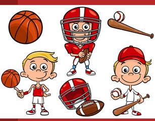boy with sport equipment cartoon set
