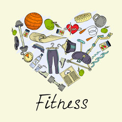 Vector stylized heart with symbols of healthy lifestyle