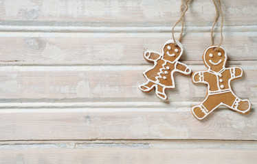 homemade cookies for Christmas on white old wooden background