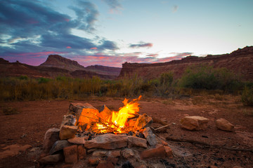 Bonfire after Sunset Camping in Utah