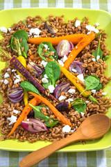 Fototapete - Healthy Salad with Spelt, Vegetable and Feta