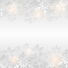 Winter background with snowflakes. Flat vector card.