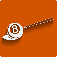 Billiard 8-ball and cue. Vector