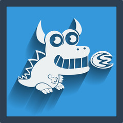 Funny white dragon in flat design on blue. Vector.