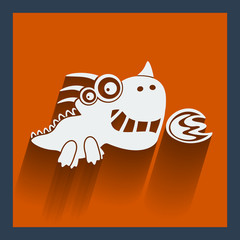 Funny white dragon on orange. Vector flat design.