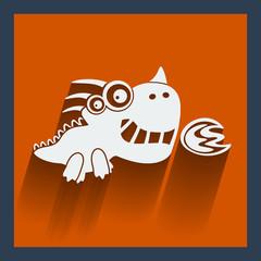 Funny white dragon on orange. Vector flat design.