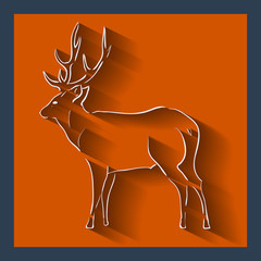 Deer web and mobile icon. Vector.