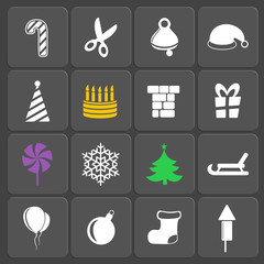 Set of 16 holidays web and mobile icons. Vector.