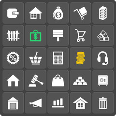 Set of 25 money web and mobile icons. Vector.