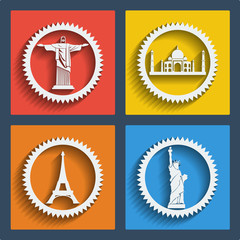 Set of 4 travel web and mobile icons. Vector.