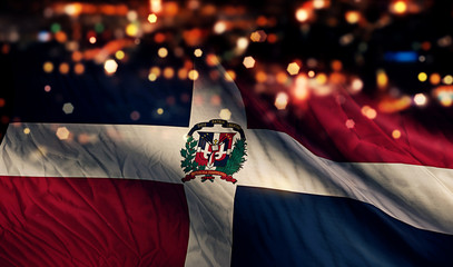 Dominican Republic National Flag Light Night Bokeh Abstract
