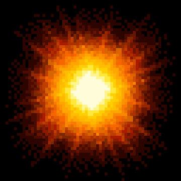8-bit Pixel Art Firey Explosion. EPS8 Vector