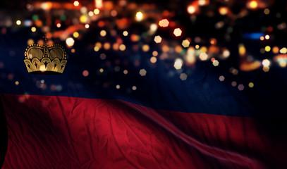 Liechtenstein National Flag Night Bokeh Abstract Background