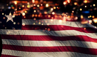 Liberia National Flag Light Night Bokeh Abstract Background
