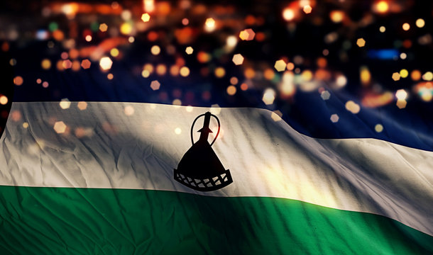 Lesotho National Flag Light Night Bokeh Abstract Background