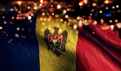Moldova National Flag Light Night Bokeh Abstract Background