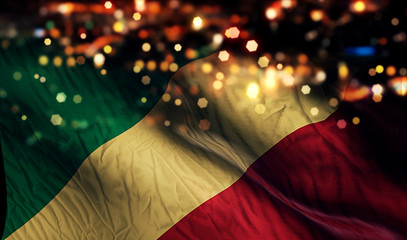 Congo National Flag Light Night Bokeh Abstract Background