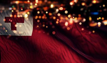 Tonga National Flag Light Night Bokeh Abstract Background