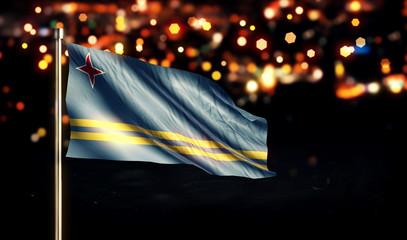 Aruba National Flag City Light Night Bokeh Background 3D