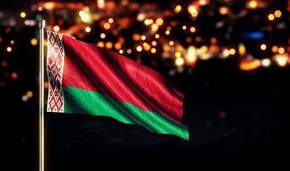 Belarus National Flag City Light Night Bokeh Background 3D