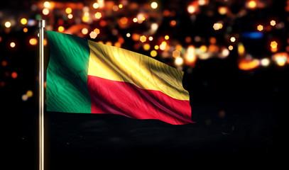 Benin National Flag City Light Night Bokeh Background 3D
