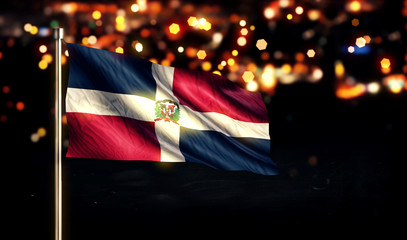 Dominican Republic National Flag City Light Night Bokeh 3D