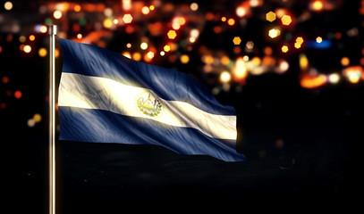 El Savador National Flag City Light Night Bokeh Background 3D