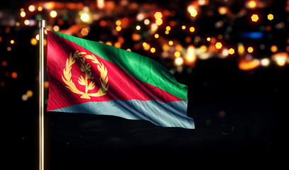 Eritrea National Flag City Light Night Bokeh Background 3D