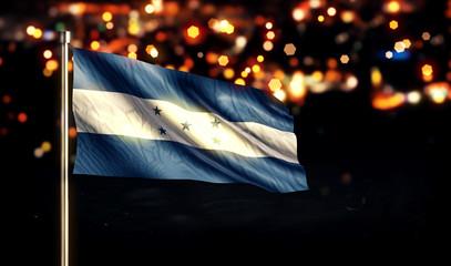 Honduras National Flag City Light Night Bokeh Background 3D