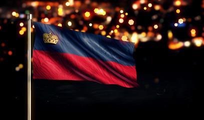 Liechtenstein National Flag City Light Night Bokeh Background 3D