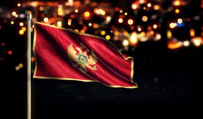 Montenegro National Flag City Light Night Bokeh Background 3D