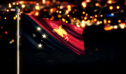 Papua New Guinea National Flag City Light Night Bokeh 3D