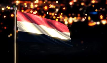 Yemen National Flag City Light Night Bokeh Background 3D