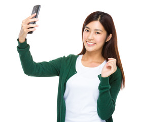 Asian young woman take selfie