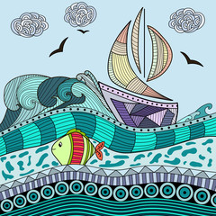 Abstract Ocean Background with ship and fish
